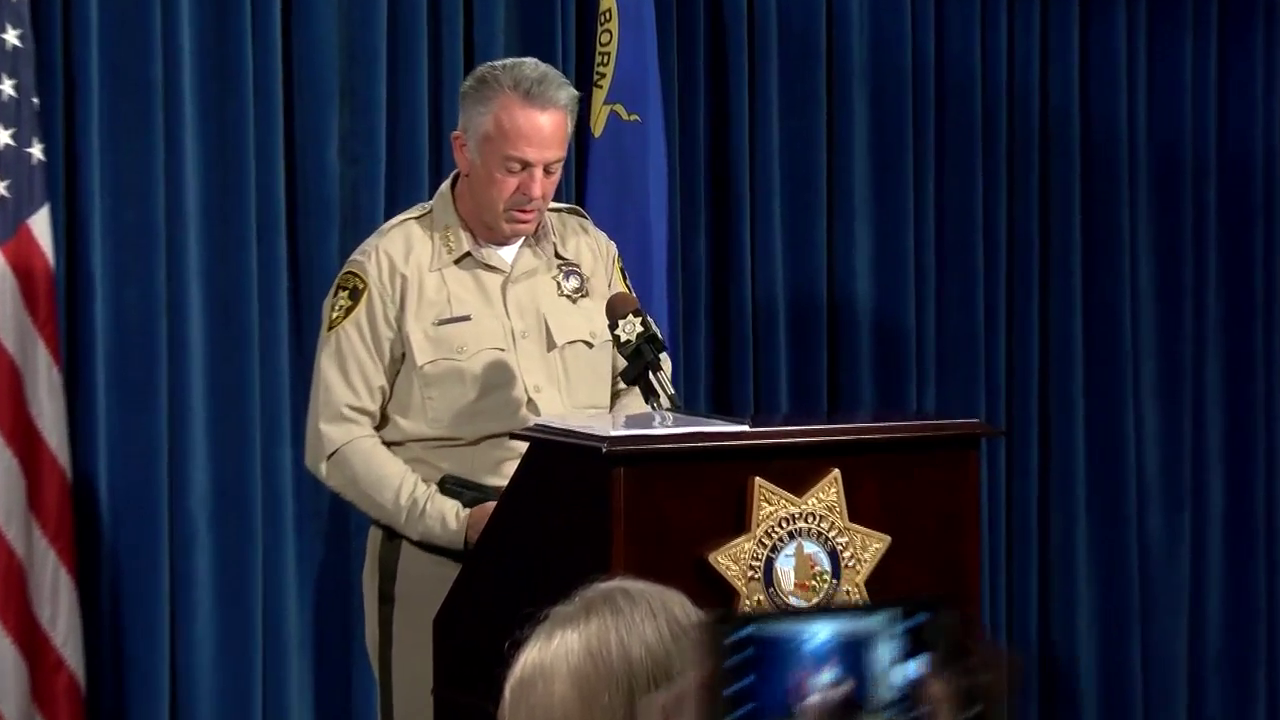 Las Vegas Sheriff Joe Lombardo speaks to reporters about the deadly mass shooting of October 1, 2017. (KSNV file image)