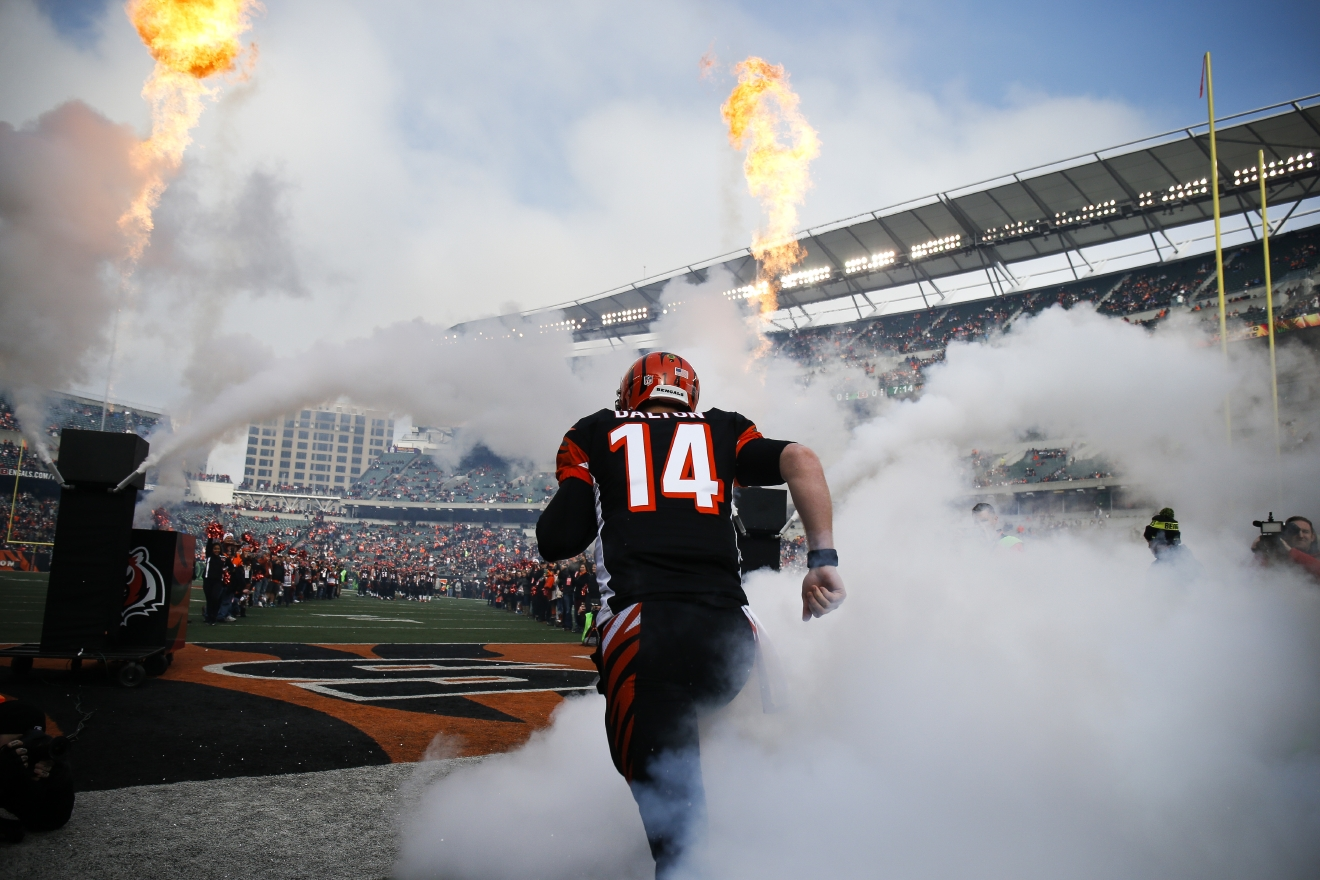 Cincinnati Bengals quarterback Andy Dalton (14) takes the field before an NFL football game against the Baltimore Ravens, Sunday, Jan. 1, 2017, in Cincinnati. (AP Photo/Gary Landers)