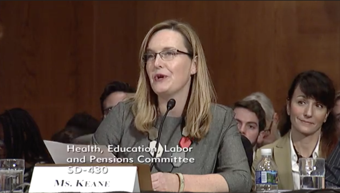 Witness and Chief Policy Officer for UAspire Laura Keane / Photo: The Senate Committee on Health, Education Labor & Pensions