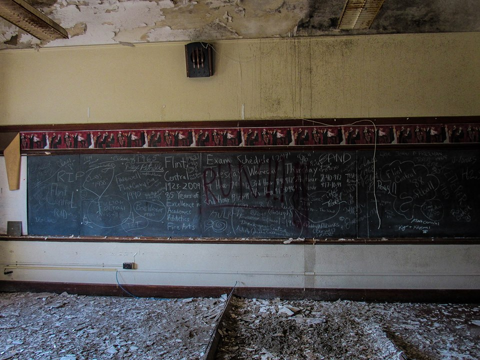 Flint's Central High School was built in 1923 and closed in 2009.  Flint resident Travis James went inside for a rare look at the decaying school. (Picture from Travis James)