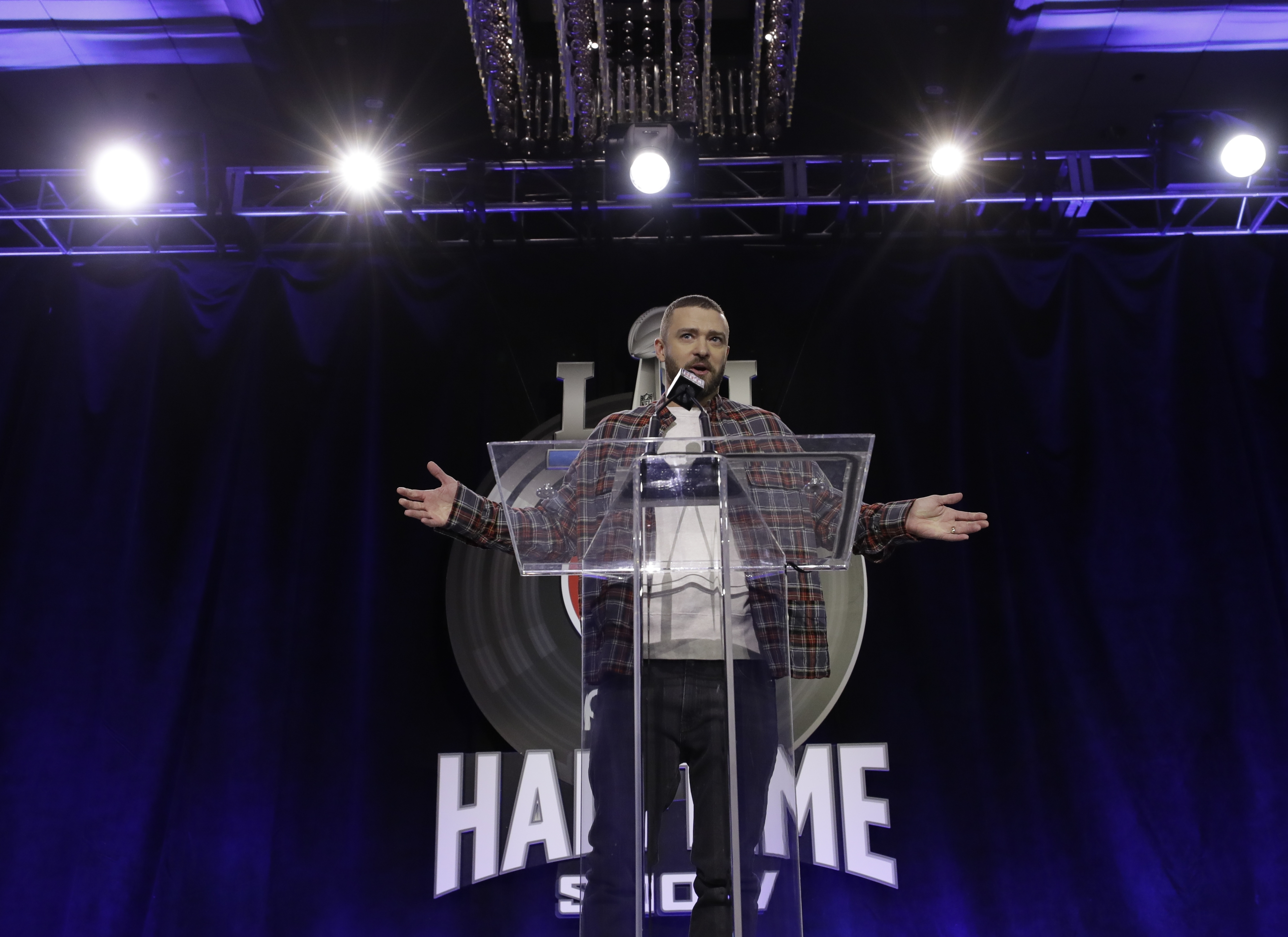 Justin Timberlake answers questions during a news conference for the Super Bowl 52 football game halftime show Thursday, Feb. 1, 2018, in Minneapolis. (AP Photo/Matt Slocum)