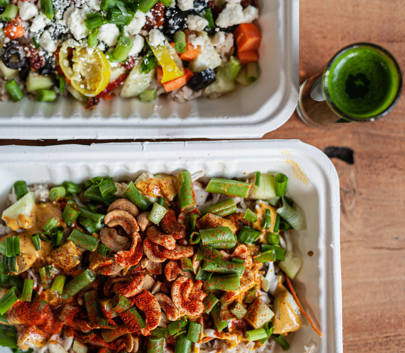 Spicy Thai Bowl, Mediterranean Bowl, and a Wheat Grass Shot / Image: Kellie Coleman // Published: 12.27.20