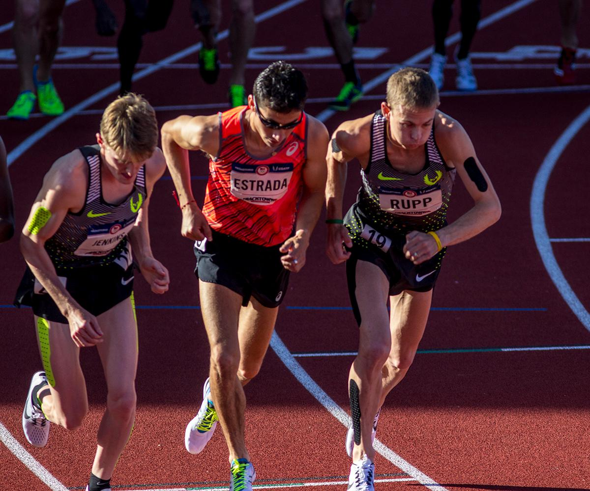 Nike�s Galen Rupp takes off from his starting mark for the Men�s 10,000 meter race. Rupp finished 1st overall with a time of 27:55.04. He also qualified for to compete in the marathon in the Olympics and he will compete in the 5,000m later in the trials. Day one of the U.S. Olympic Trials began on Friday at Hayward Field in Eugene, Ore. And will continue through July 10. (Photo by Amanda Butt)