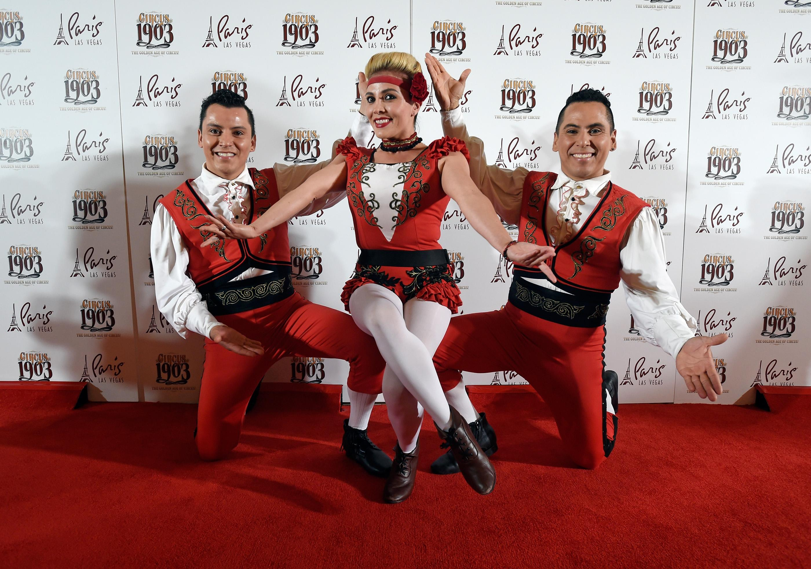 "Cast members from ""Circus 1903"" arrive at the grand opening of their show at Paris Las Vegas Tuesday, July 25, 2017, in Las Vegas. Life-size elephants puppets along with a cast of circus acts from around then world will entertain audiences of all ages Tuesday through Sunday at the Paris Theater. CREDIT: David Becker/Las Vegas News Bureau"