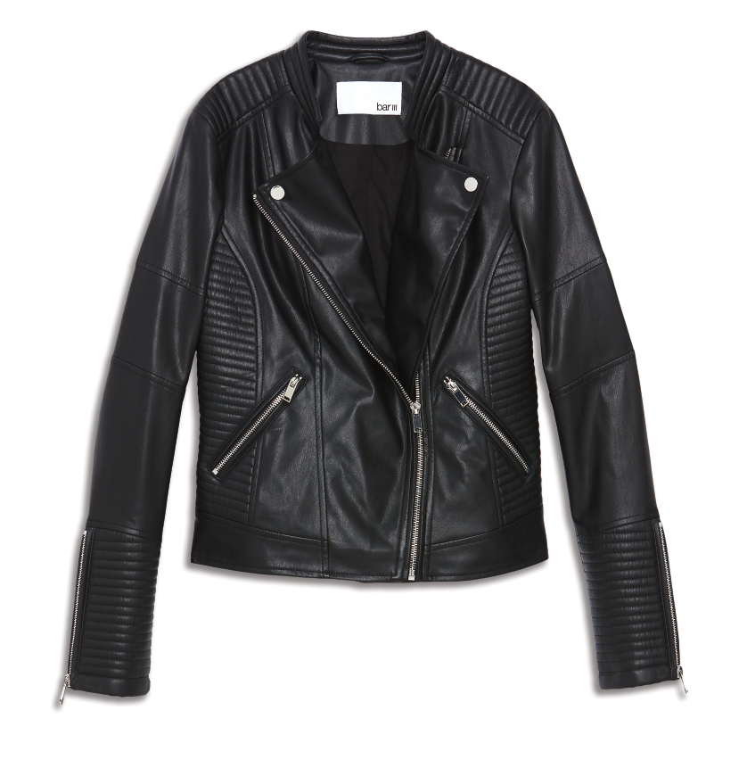 Bar III Faux Leather Moto Jacket, created for Macy's // Price: $99.50 // (Photo courtesy: Macy's/Macys.com)<p></p>