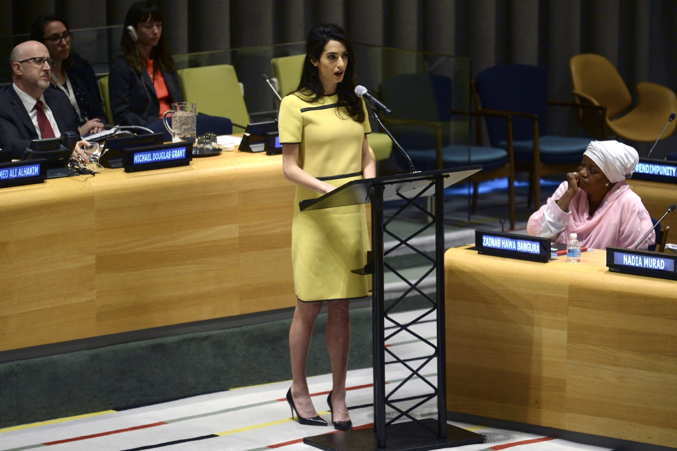 Amal Clooney during a United Nations human rights meeting, titled 'The Fight against Impunity for Atrocities: Bringing Da'esh [ISIS] to Justice,'  at U.N. headquarters in New York City.  Featuring: Amal Clooney Where: New York City, New York, United States When: 09 Mar 2017 Credit: Dennis Van Tine/Future Image/WENN.com  **Not available for publication in Germany**