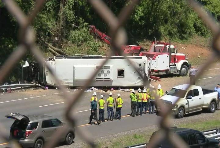 Maryland State Police crash team investigators continue to examine evidence from the bus crash on Interstate 95 in Harford County that sent 30 people to the hospital.