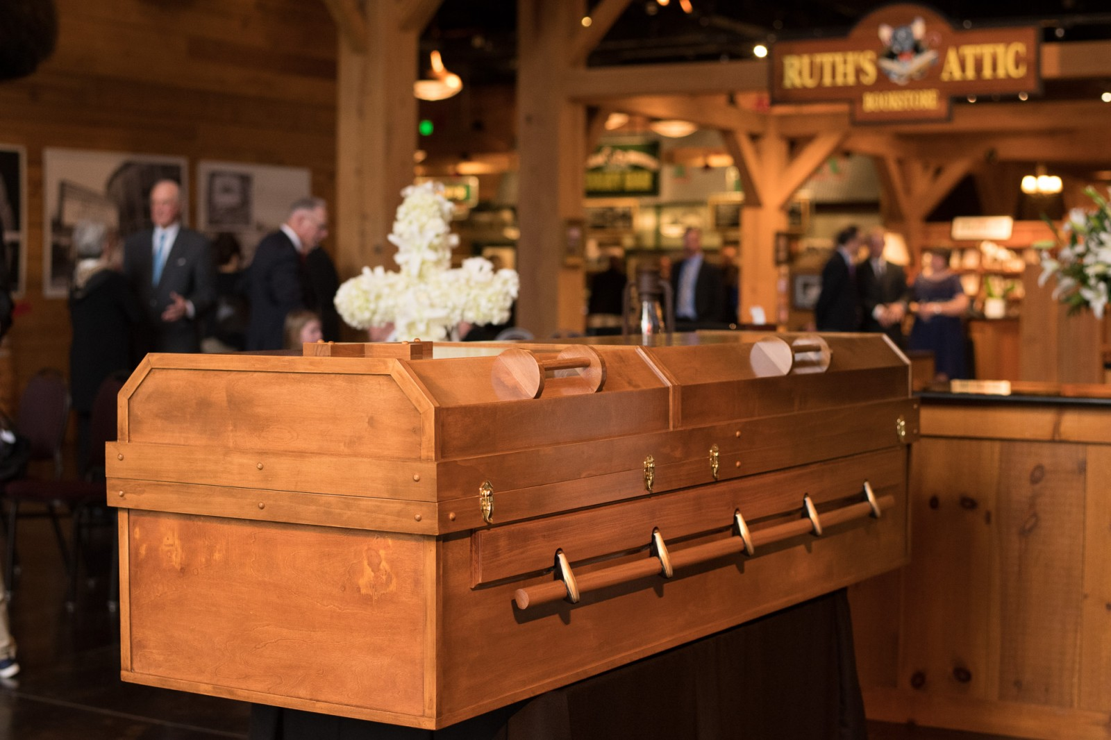 Billy Graham lies in repose at the Billy Graham Library in a pine casket. Photo: Billy Graham Evangelistic Association<p></p>