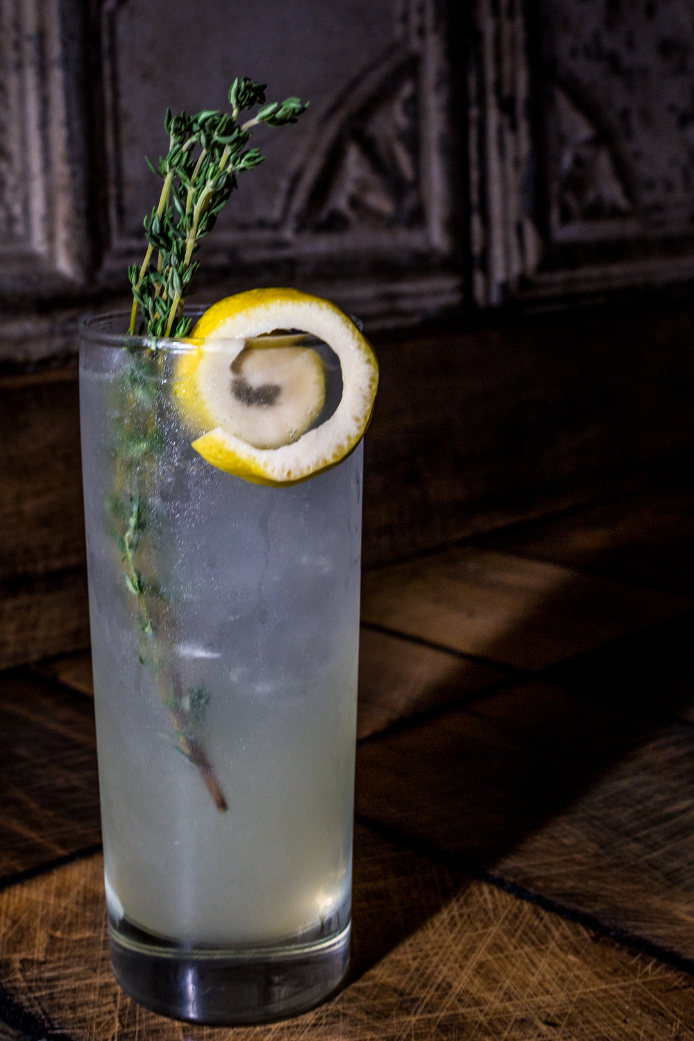 Lemon-Thyme Fizz: Bluecoat Gin, lemon-thyme syrup, and soda / Image: Catherine Viox // Published: 9.30.19