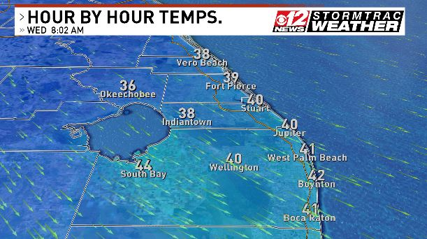Wednesday Morning Wake Up Temperatures
