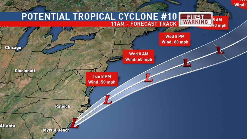 Potential Tropical Cyclone #10 Track