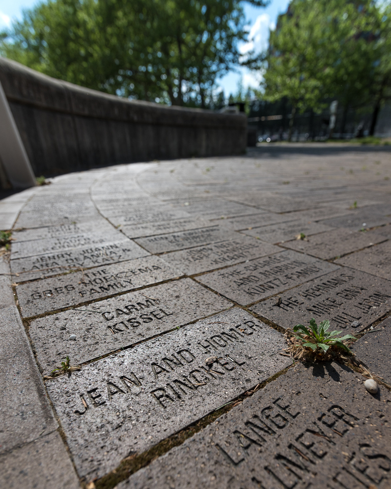 Like 30,000 others, Homer and Jean (his wife) have a Bicentennial Brick near the Schott Amphitheater carillon.{ }