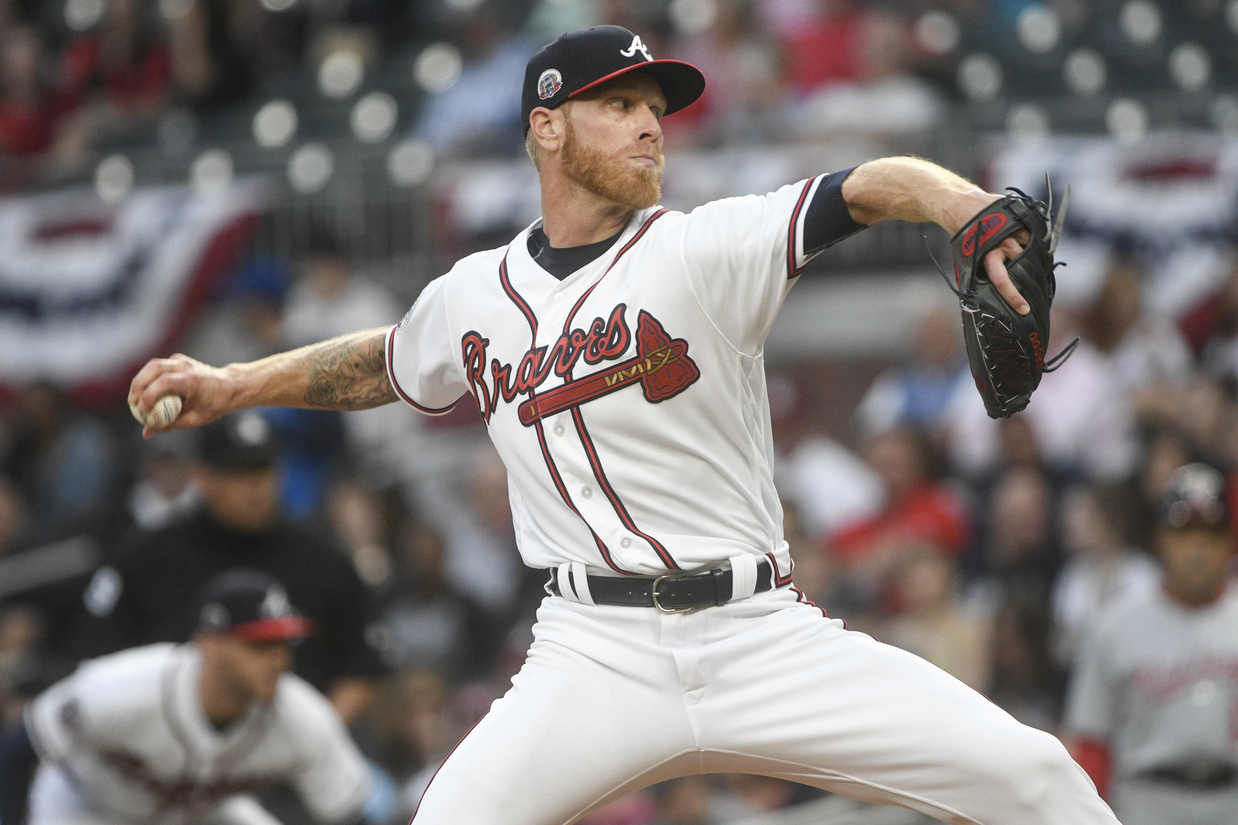 Atlanta Braves' Mike Foltynewicz pitches against the Washington Nationals during the first inning of a baseball game, Tuesday, April 18, 2017, in Atlanta. (AP Photo/John Amis)
