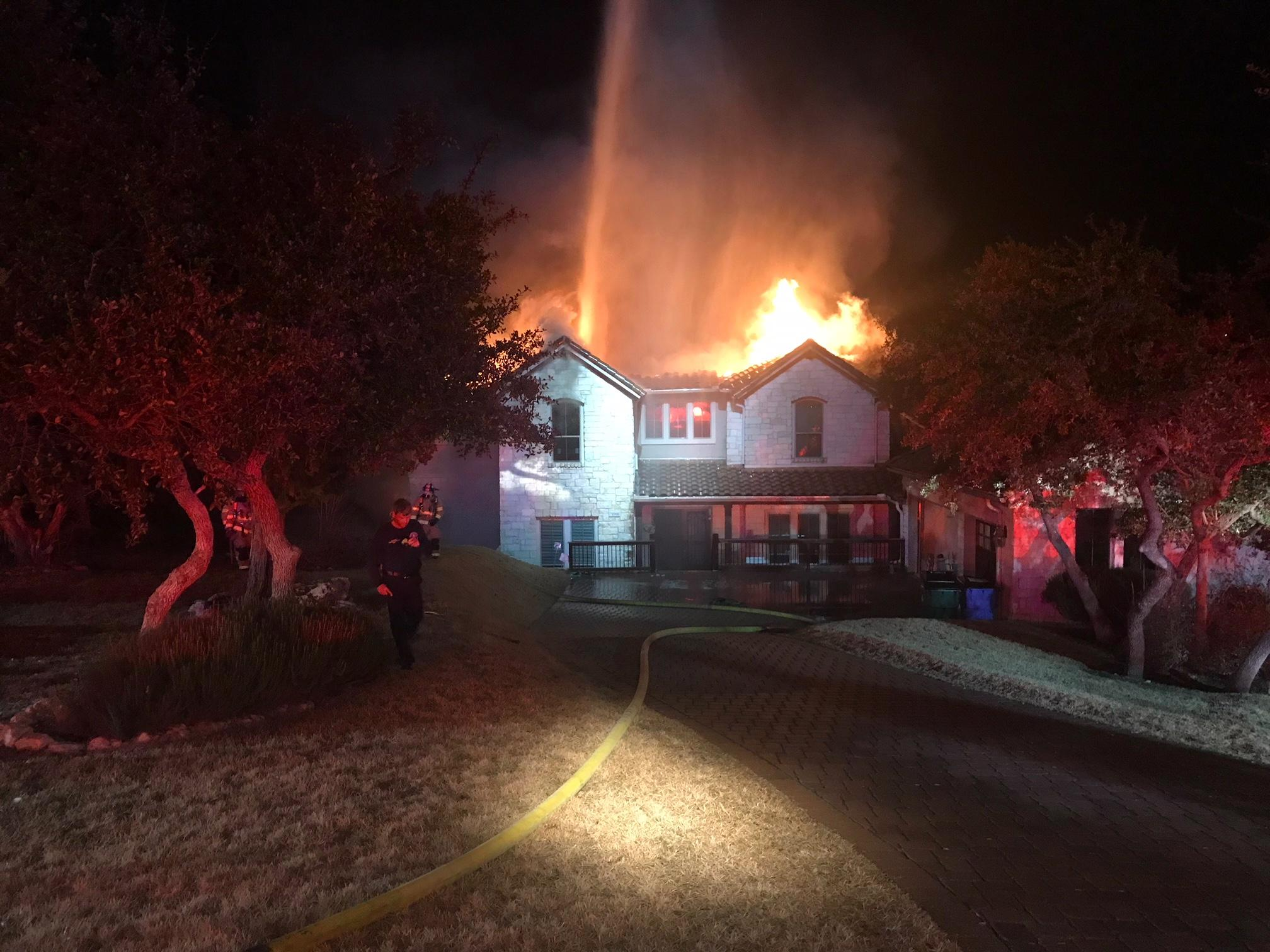 TravCo ESD1 battled a house fire in the Hollows late Friday night on the 17000 block of Regatta View Dr. The home was engulfed in flames when they arrived. One pet was killed in the fire. (PHOTOS/VIDEO: Chief Donnie Norman, TravCo ESD1)
