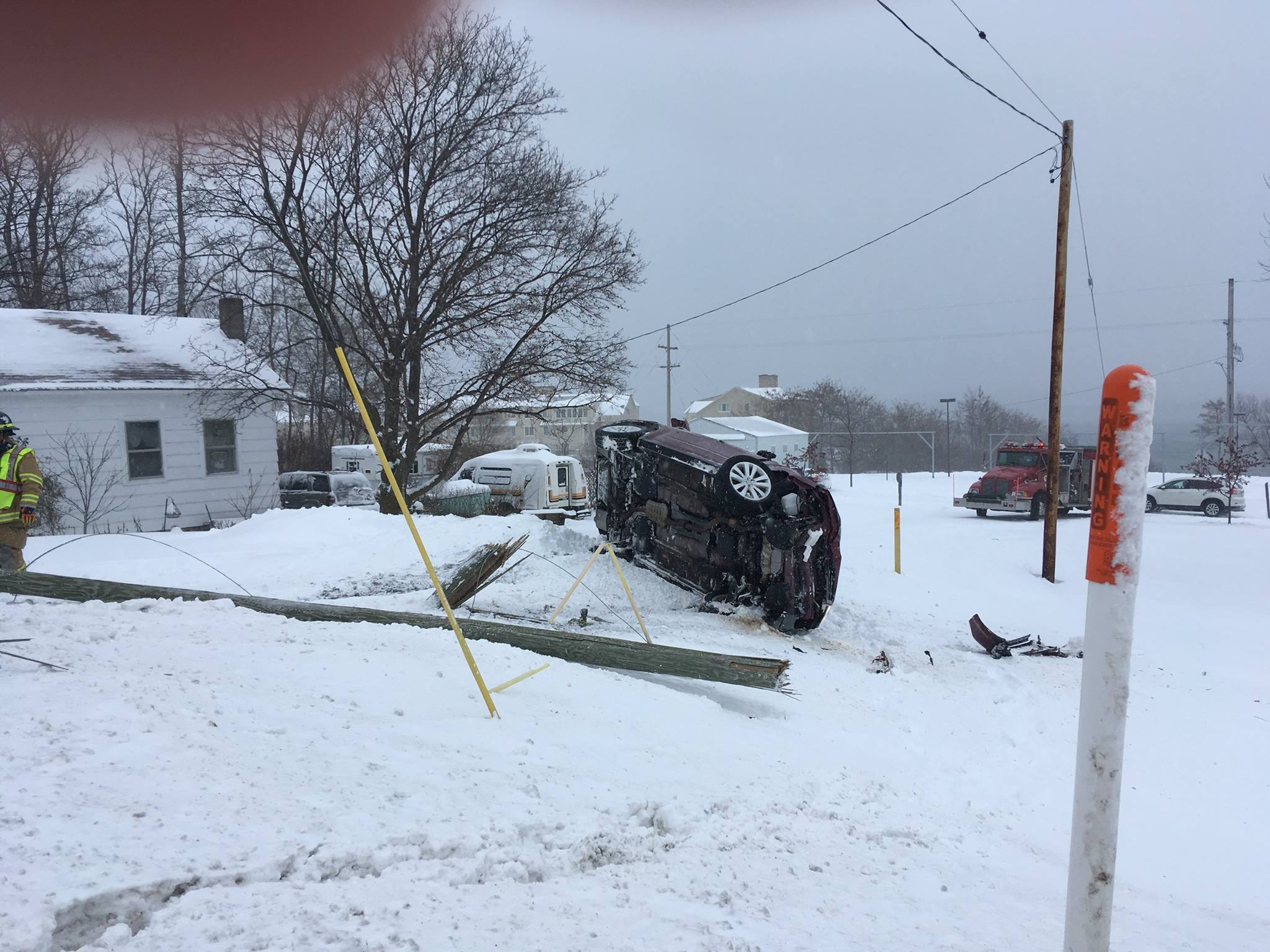 A 72-year-old Traverse City woman is uninjured after she crashed into a utility pole.{ }Photo Courtesy: Leelanau County Sheriff's Office