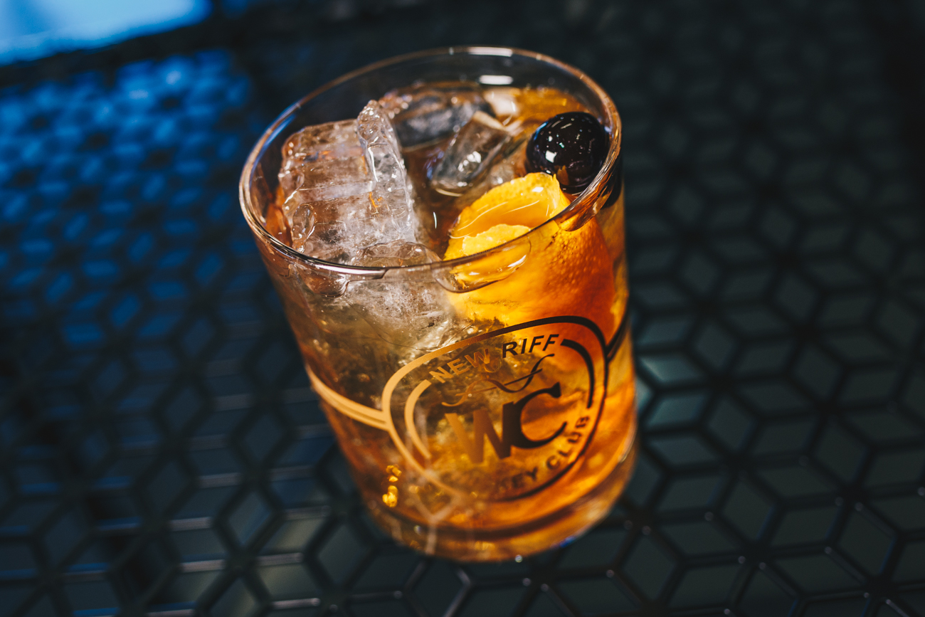 New Fashioned: New Riff Bourbon or Rye, orange bitters, Demerara simple syrup, and garnished with orange peel and luxardo cherry / Image: Catherine Viox // Published: 3.25.19
