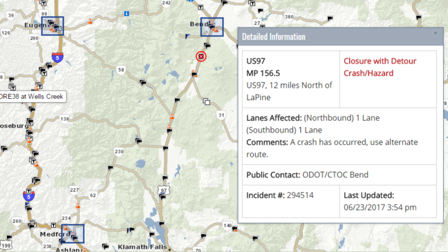 'Extensive investigation likely': Hwy 97 closed north of La Pine after crash