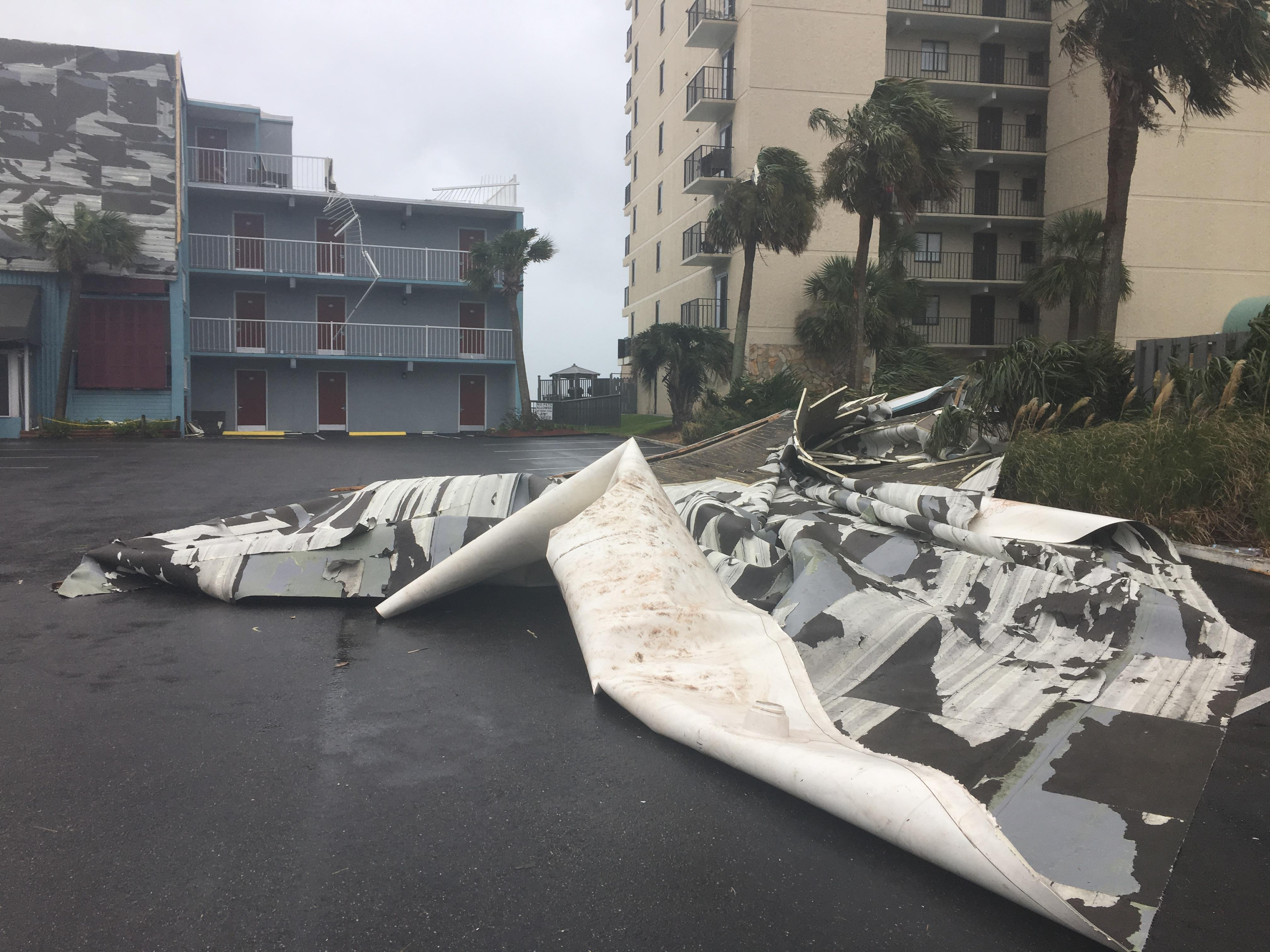 Wind From Irma Blows Roofing Off Of Garden City Inn. (WPDE)