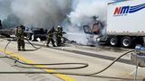 Semi-Truck on Fire on Southbound I-55