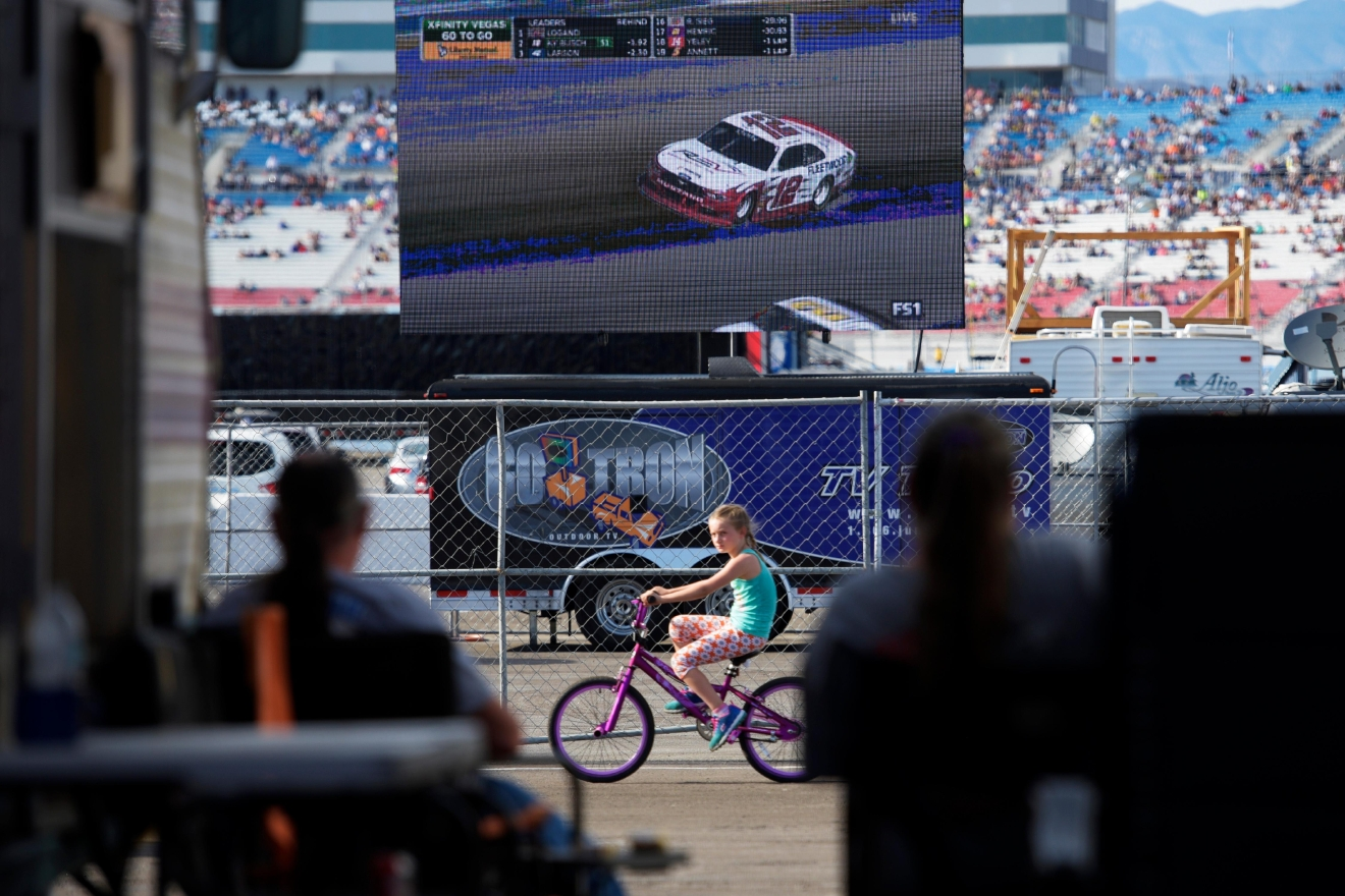 An infield video board shows eventual winner Joey Logano speeding around the track during the NASCAR Xfinity Series Boyd Gaming 300 Saturday, March 11, 2017, at the Las Vegas Motor Speedway. (Sam Morris/Las Vegas News Bureau)