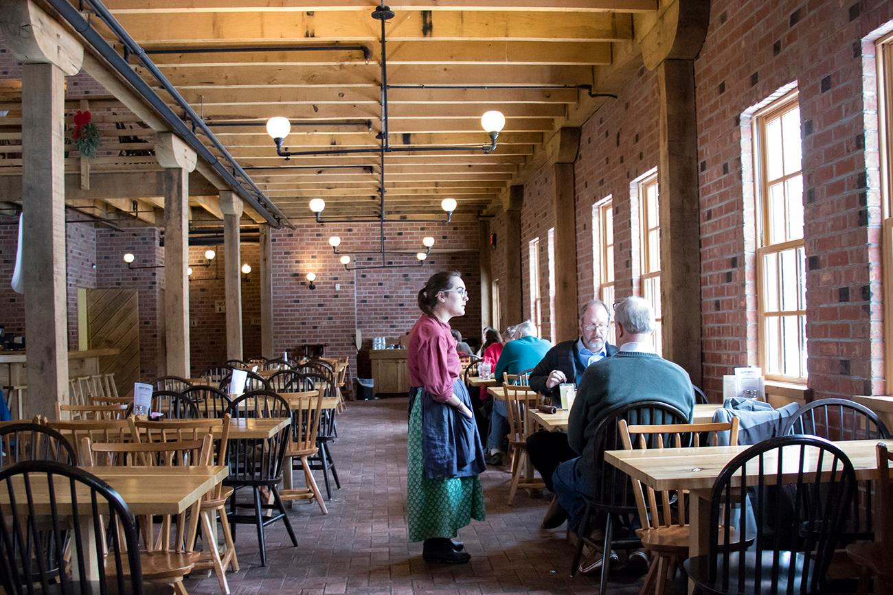 Costumed staff serve you food inspired from Dayton's immigrant brewery owners. Food is inspired from English, German, and Irish immigrants. / Image: Allison McAdams