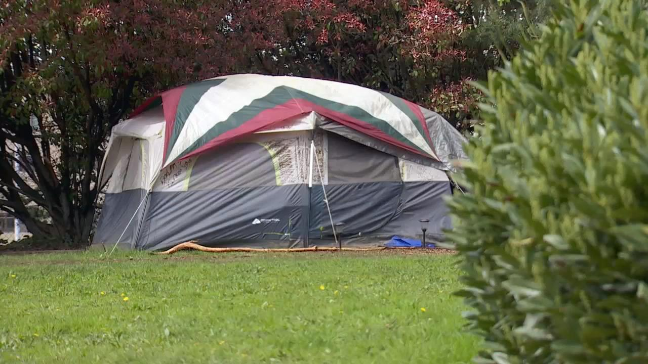 People have pitched tents south of Interstate 84 and north of Northeast 34th and Halsey. (KATU Photo)