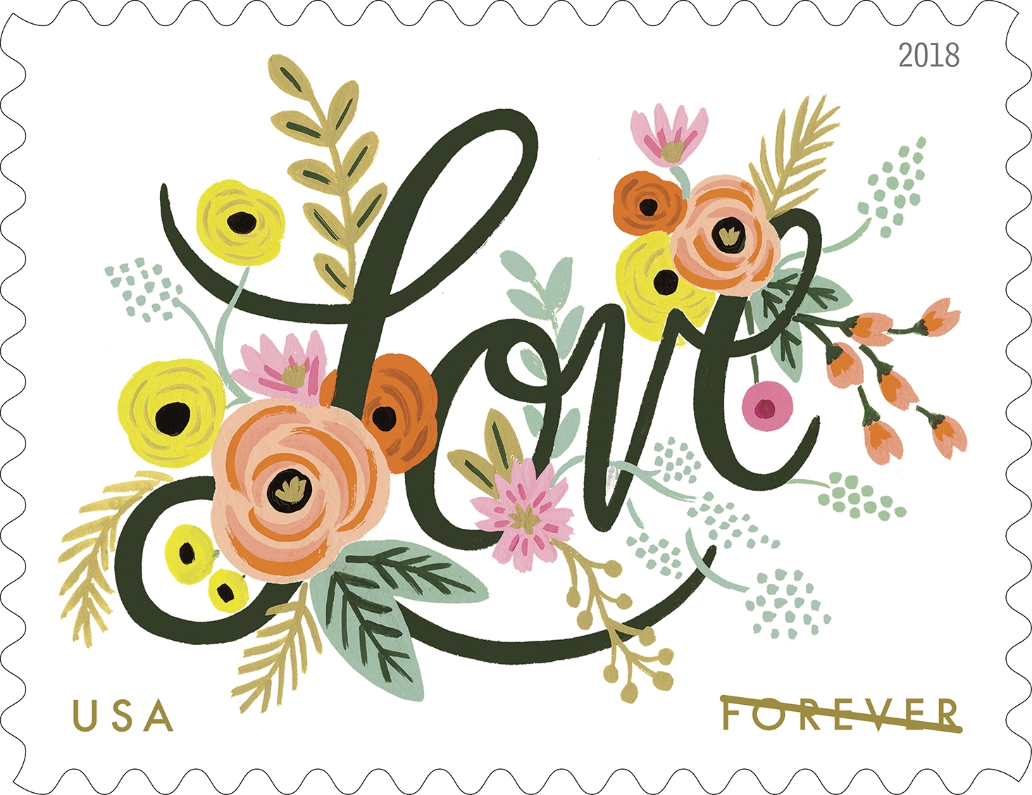 "Love Flourishes (Love series): Love Flourishes is the latest stamp in the Love series. The stamp art features a fanciful garden of colorful flowers surrounding the word ""Love."" (USPS)"