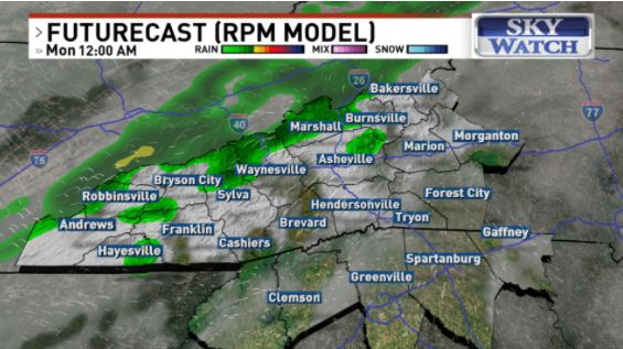 Monday, Nov. 23 futurecast (WLOS)