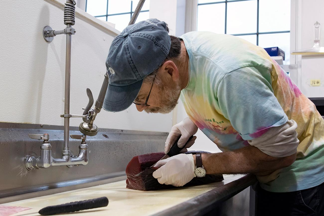 <p>Owner Kevin Smith cutting tuna steaks{&nbsp;}/ Image: Allison McAdams // Published: 3.11.19</p>