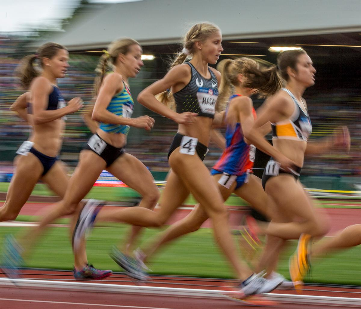 Nike Oregon Project's Jordan Hasay competes in 5,000 meter final. Hasan finished 13th with a time of 15:51.68. Photo by August Frank, Oregon News Lab