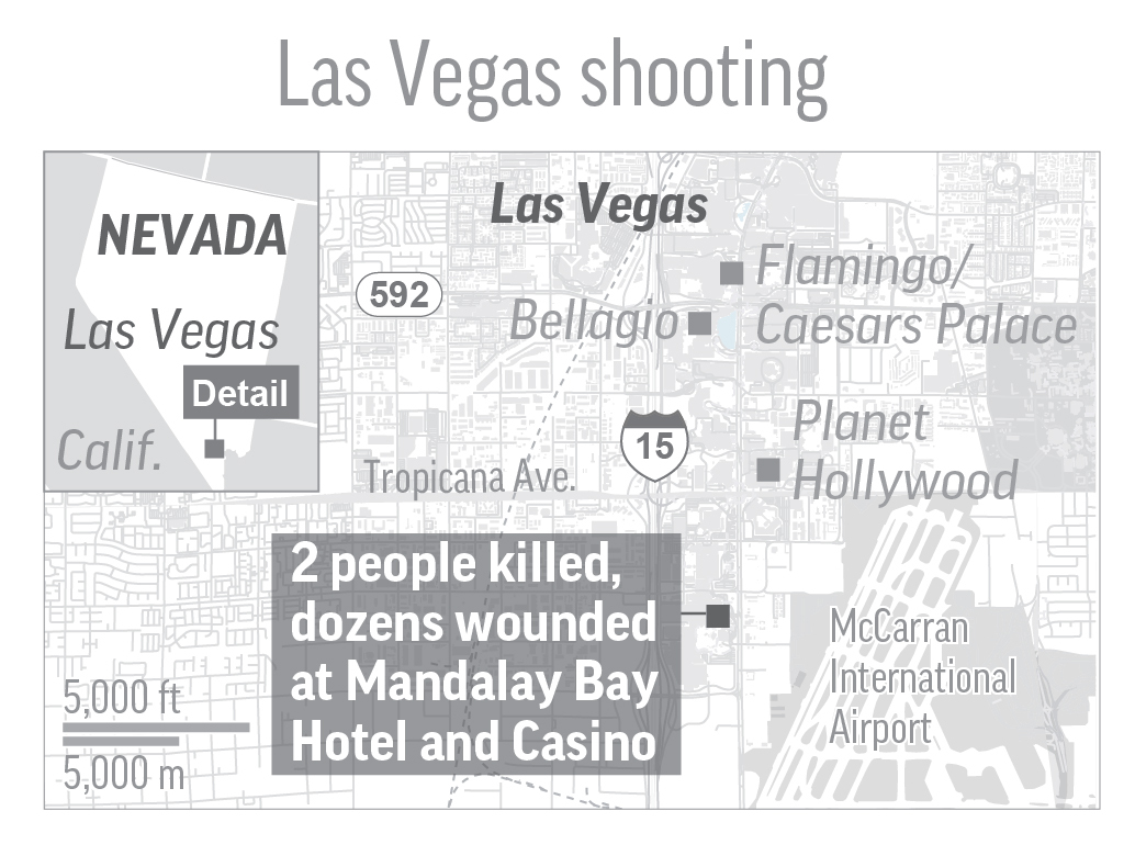 LAS VEGAS SHOOTING 100217: Map shows shooting at Mandalay Bay Hotel and Casino in Las Vegas; 2c x 2 1/2 inches. (AP)