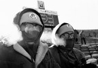 Two Green Bay Packers fans, Tom, left, and Richard Bulgrin, blow steam through their face protectors in the below-zero temperature at the NFL Championship Game, Dec. 31, 1967, at Lambeau Field.