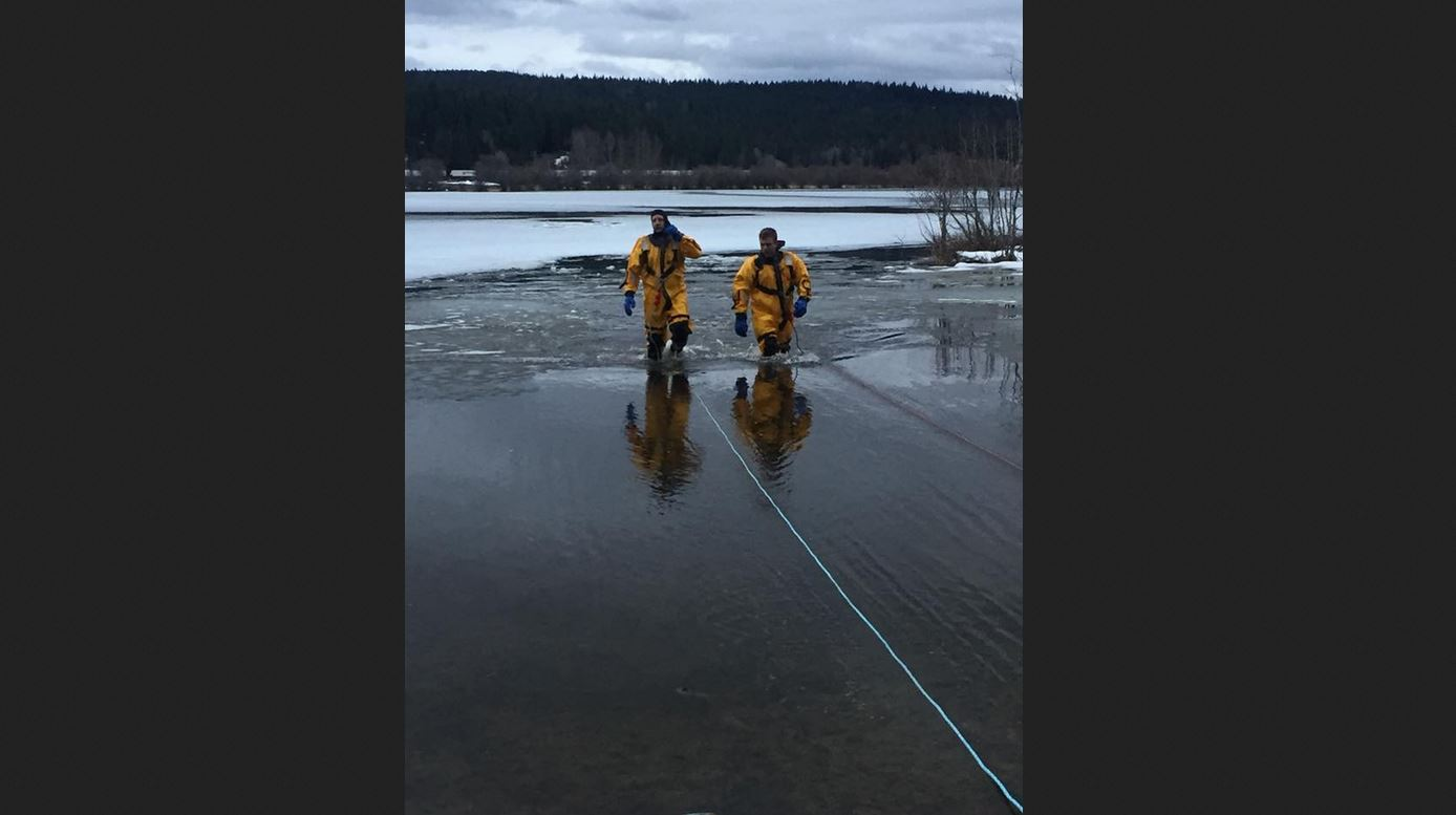 Selkirk Fire was called to rescue a dog that had fallen into the frozen Cocolalla Lake Wednesday. (Photo courtesy Selkirk Fire Rescue and EMS)