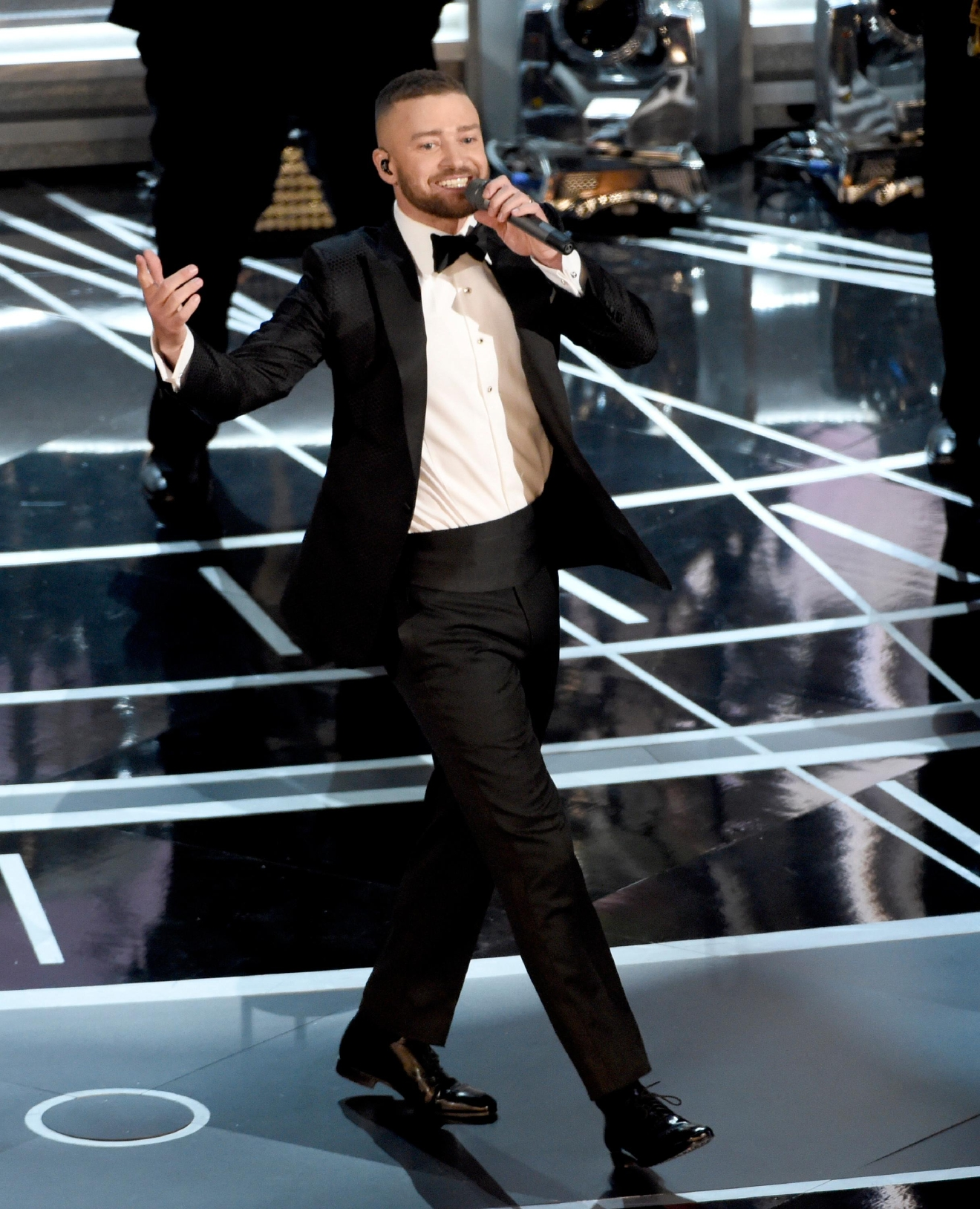"Justin Timberlake performs songs from best original song nominee ""Can't Stop the Feeling,"" from ""Trolls"" at the Oscars on Sunday, Feb. 26, 2017, at the Dolby Theatre in Los Angeles. (Photo by Chris Pizzello/Invision/AP)"