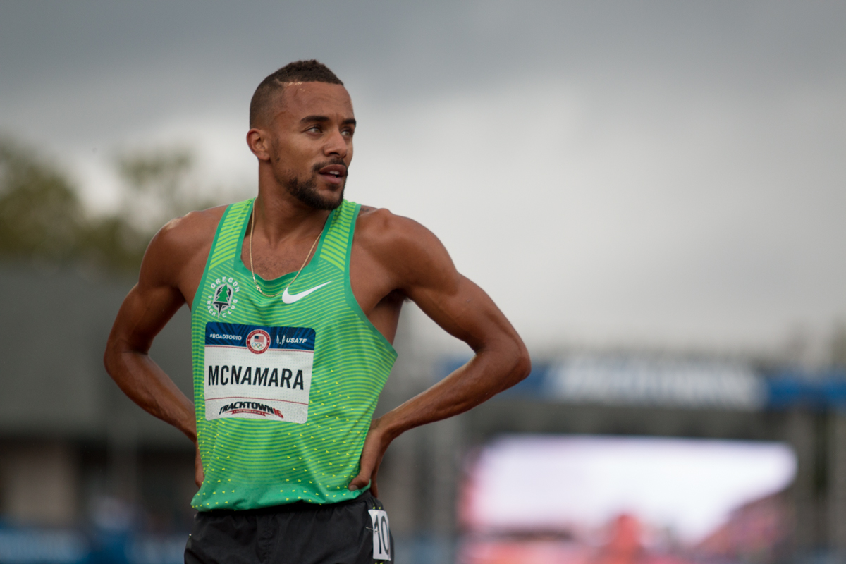 Former Duck and current Nike athlete Jordan McNamara stares at the screen after placing last in the final of the 1500m. Day Ten of the U.S. Olympic Trials Track and Field concluded on Sunday at Hayward Field in Eugene, Ore. Competition lasted July 1 - July 10. Photo by Dillon Vibes