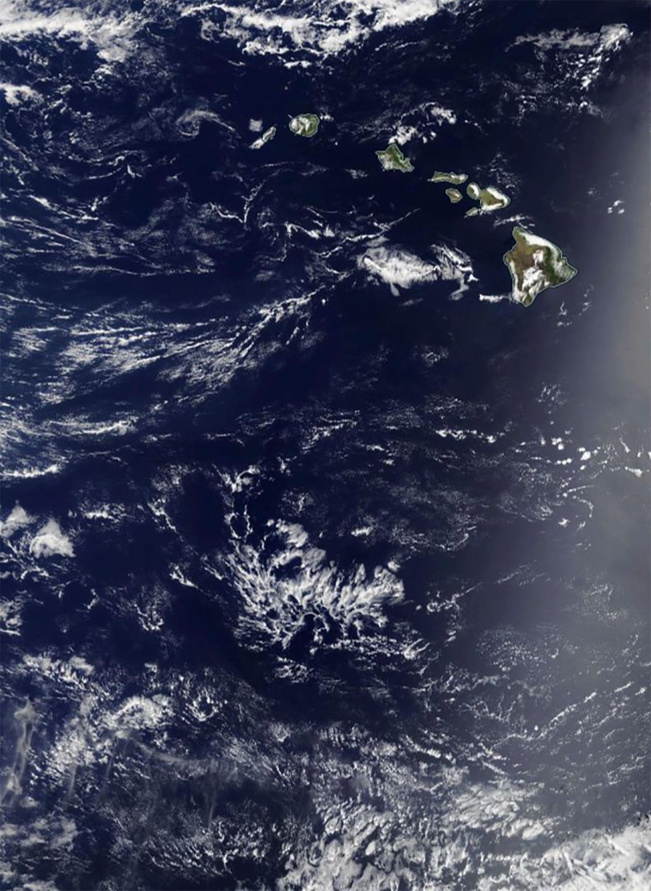 In this May 3, 2017, satellite image provided by NASA, the Pacific Ocean around Hawaii is shown. Two Honolulu women who set off to sail the South Pacidic on their 50-foot sailboat the Sea Nymph left the state on May 3 and ran into trouble almost immediately.{&amp;nbsp;} (NASA via AP)<p></p>