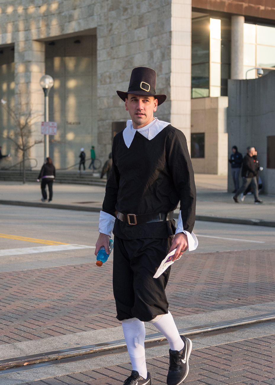 A pilgrim participated in the 109th Annual Western and Southern Thanksgiving Day 10K Run/Walk was held on Nov. 22, 2018. / Image: Phil Armstrong, Cincinnati Refined // Published: 11.30.18