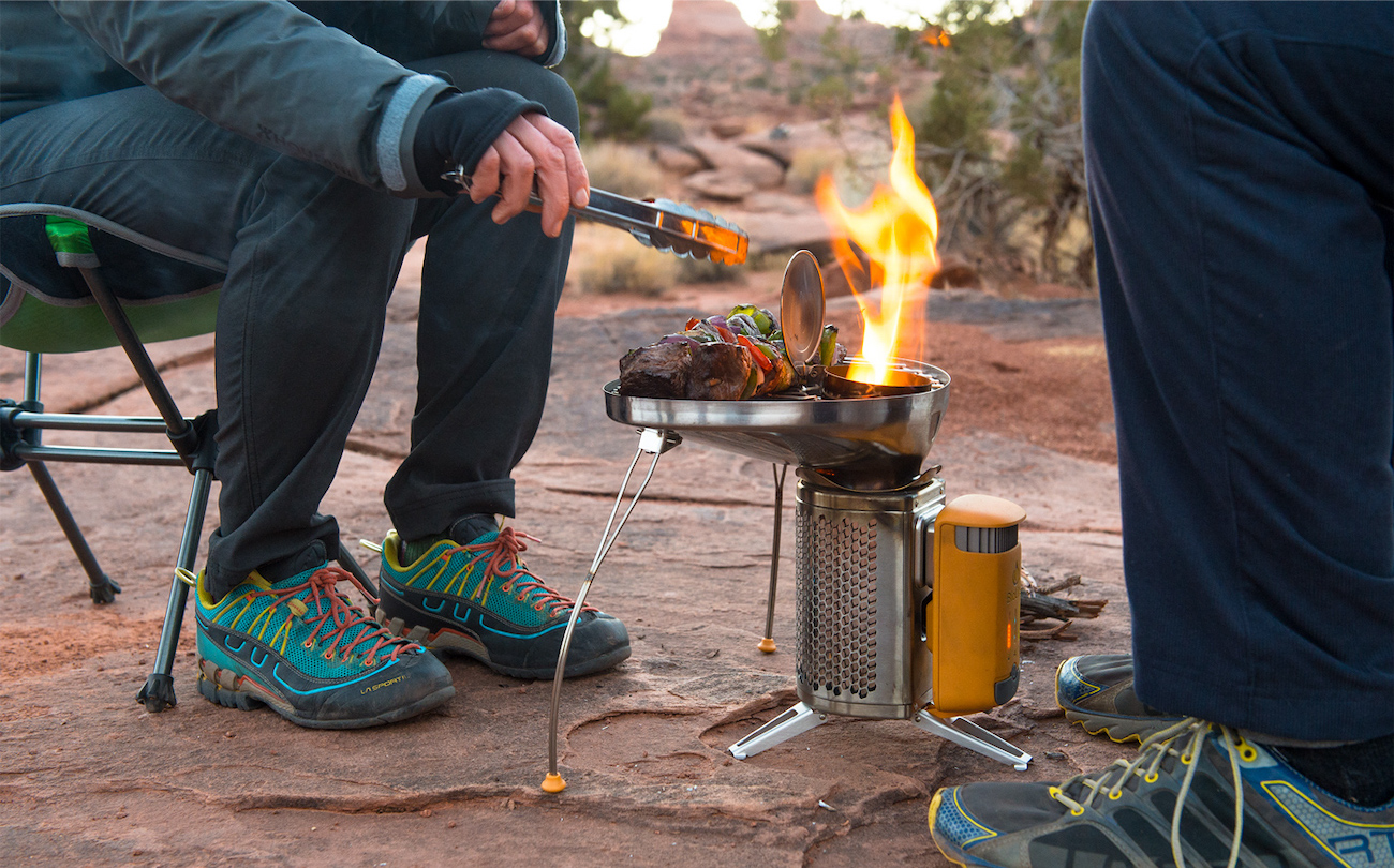 "This thermoelectric stove can burn biomass (wood + twigs) to generate a hot enough flame to boil water, grill dinner, and even charge your cell phone. Generate electricity and create smokeless wood flames with the CampStove 2 by BioLite while cooking up your meals with the lightweight Portable Grill and KettlePot attachments. /{&nbsp;}<a  href=""https://www.bioliteenergy.com/"" target=""_blank"" title=""https://www.bioliteenergy.com/"">Website{&nbsp;}</a>/ Price: $172.46 (for the bundle) / Image courtesy of BioLite // Published: 12.6.20"