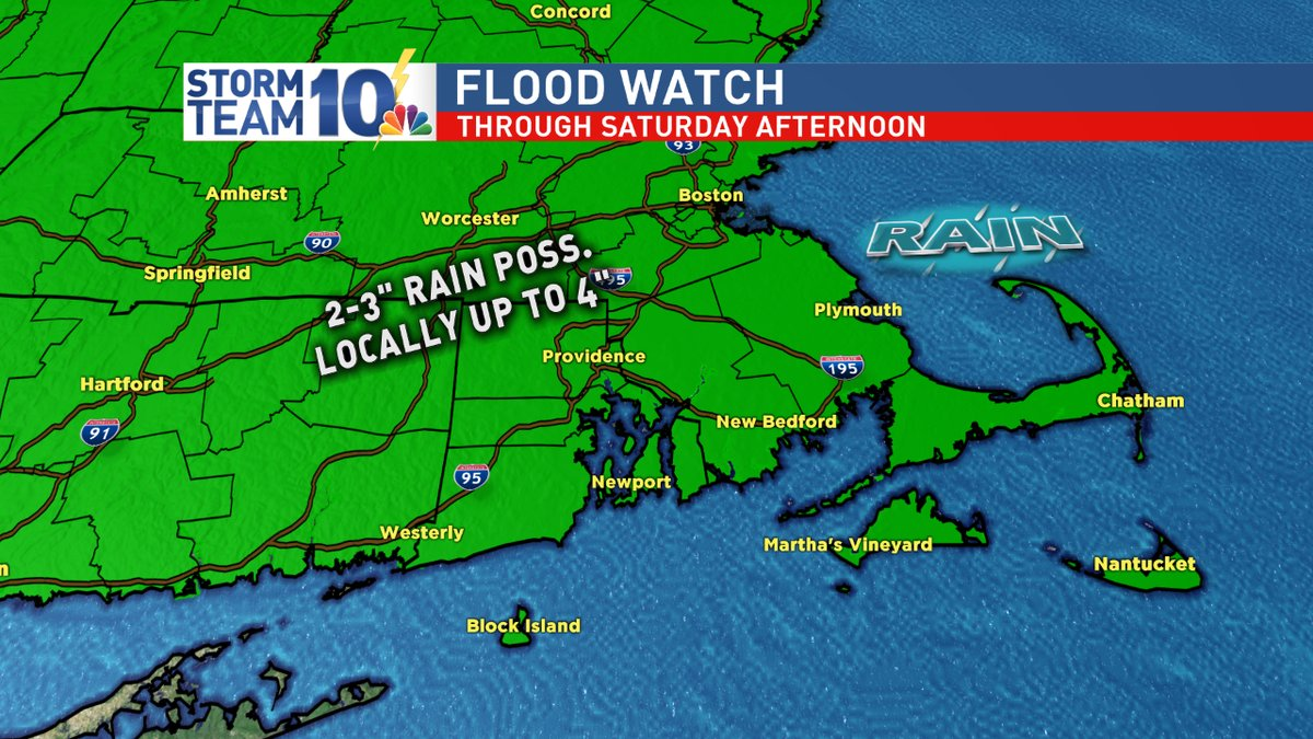 A Flood Watch remains in effect, as heavy rain falls on Southern New England during the Friday evening commute. (WJAR)