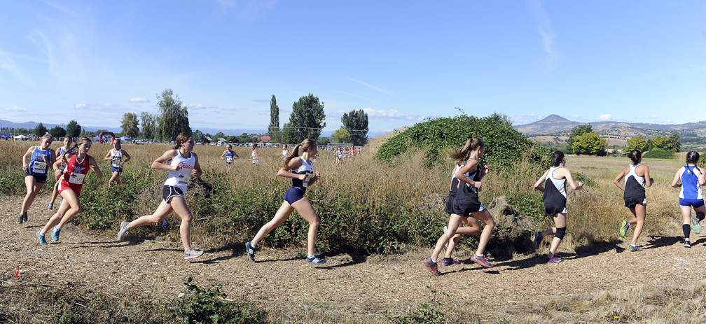 Rogue XC Invite at Colver Sports Fields in Talent 9-23-17. Girls Varsity Race - Andy Atkinson
