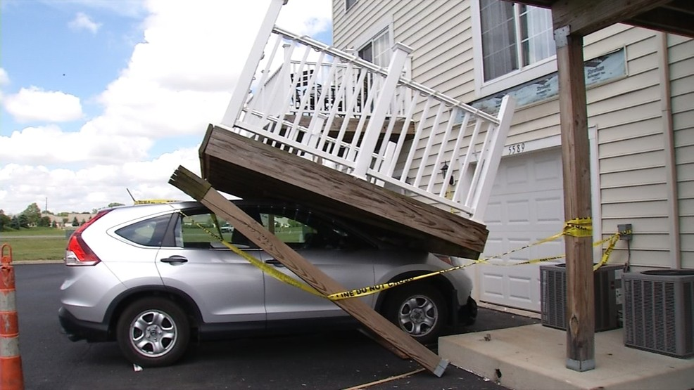 A condominium balcony at the Falls at Hayden Run collapsed, injuring two and prompting 156 other decks to be designated at 'unsafe.' (WSYX/WTTE)