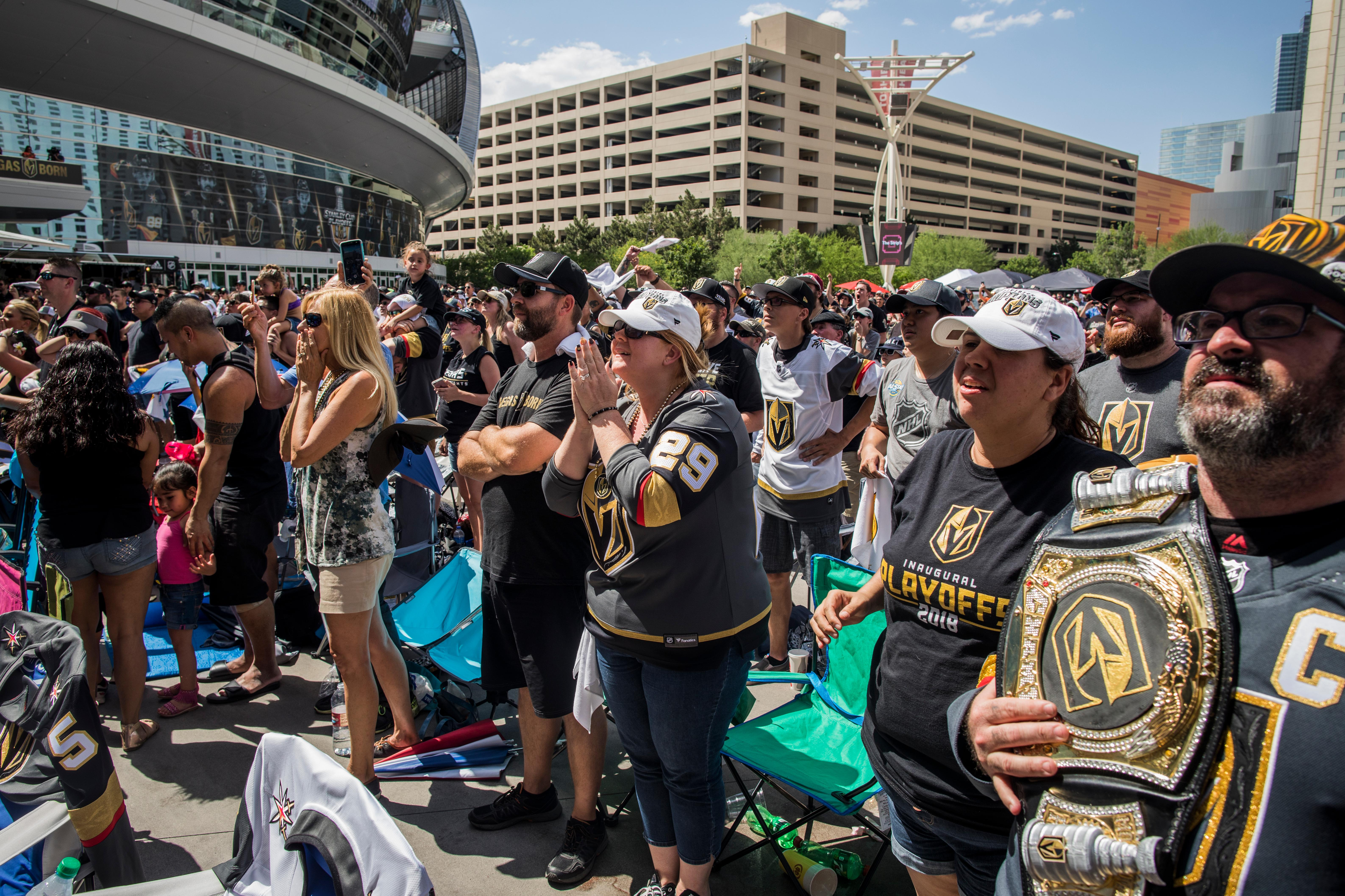 Fans nervously watch the final minutes of Game 5 during Vegas Golden Knights watch party Sunday May 20, 2018 at Toshiba Plaza outside T-Mobile Arena. The Golden Knights defeated the Winnipeg Jets, advancing to the Stanley Cup Final. CREDIT: Joe Buglewicz/Las Vegas News Bureau