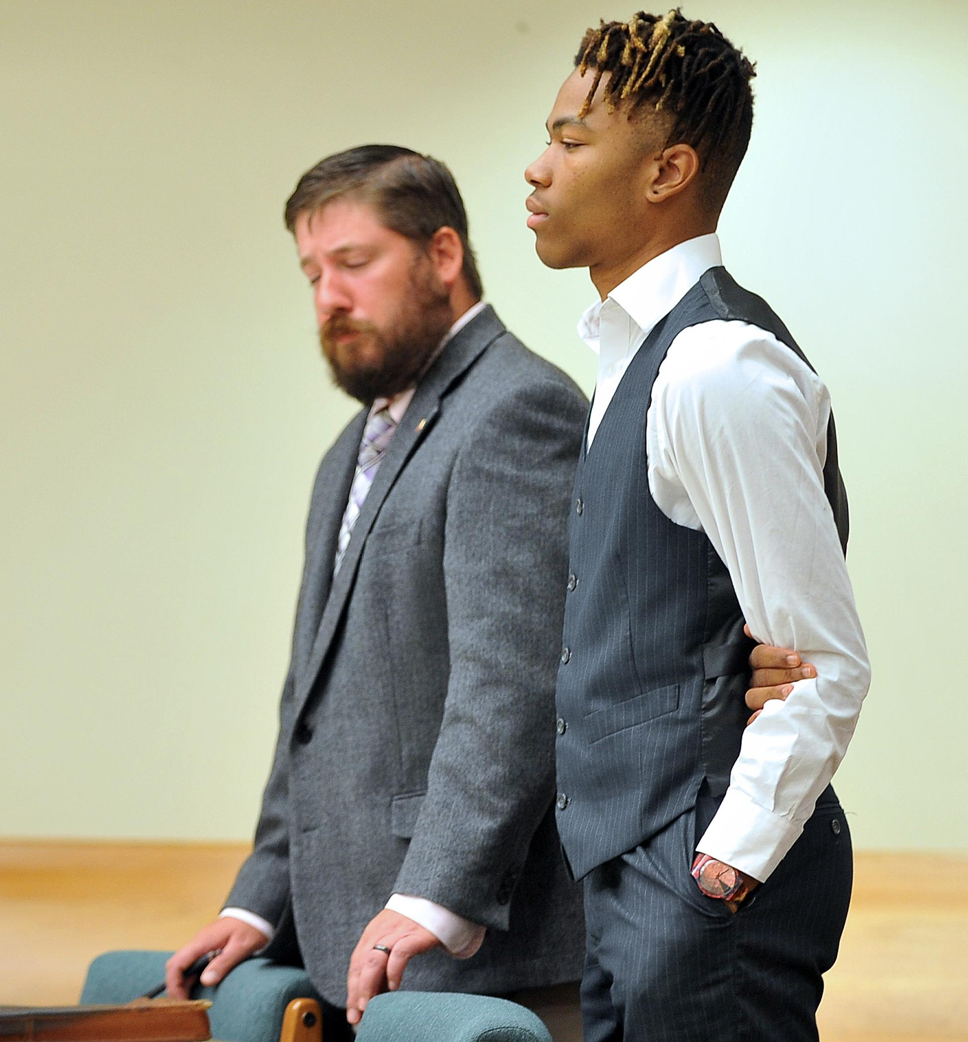 Melchizedek Michael Jaleel Elshalom, 18, enters a guilty plea in Jackson County Circuit Court Wednesday for robbing a pizza delivery driver. Mail Tribune / Jamie Lusch
