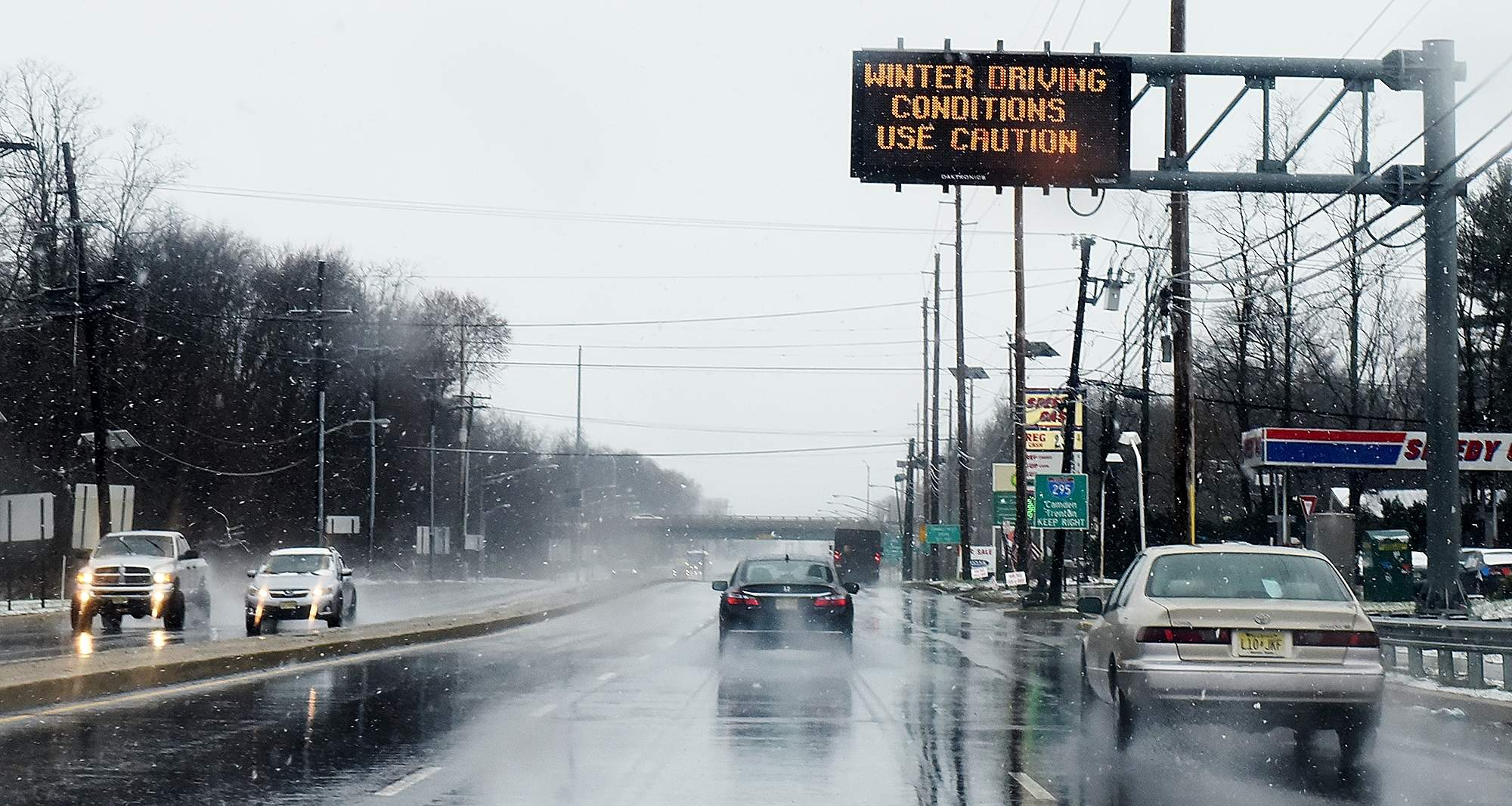 Along Route 541 heading into Westampton, on Wednesday, March 7, 2018, winter driving conditions alert signs were posted for motorists. [NANCY ROKOS / STAFF PHOTOJOURNALIST]
