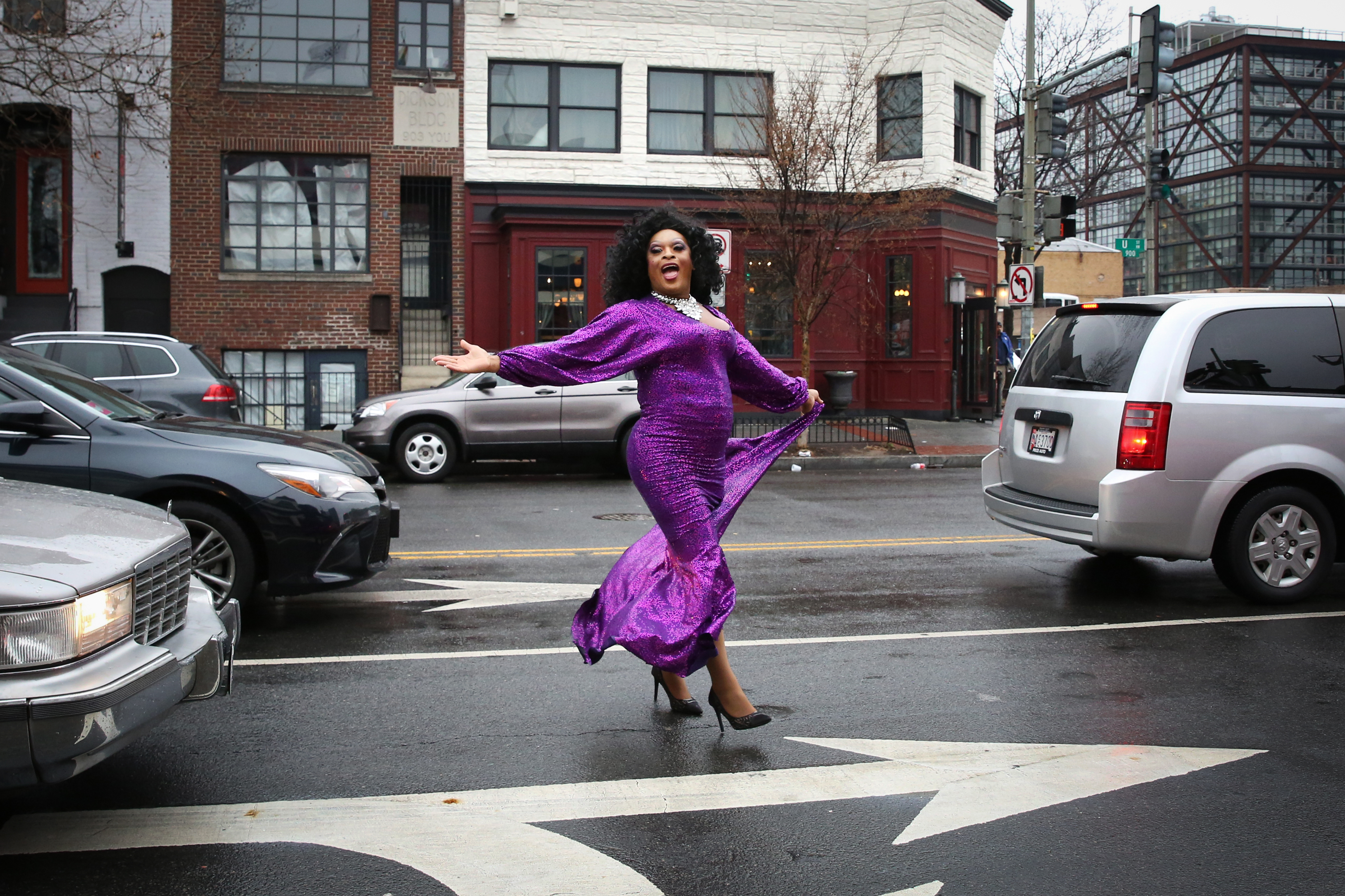 February, 2017. A drag queen dances in the streets during a performance at Nellie's in Shaw.{&amp;nbsp;} (Amanda Andrade-Rhoades/DC Refined)<p></p>