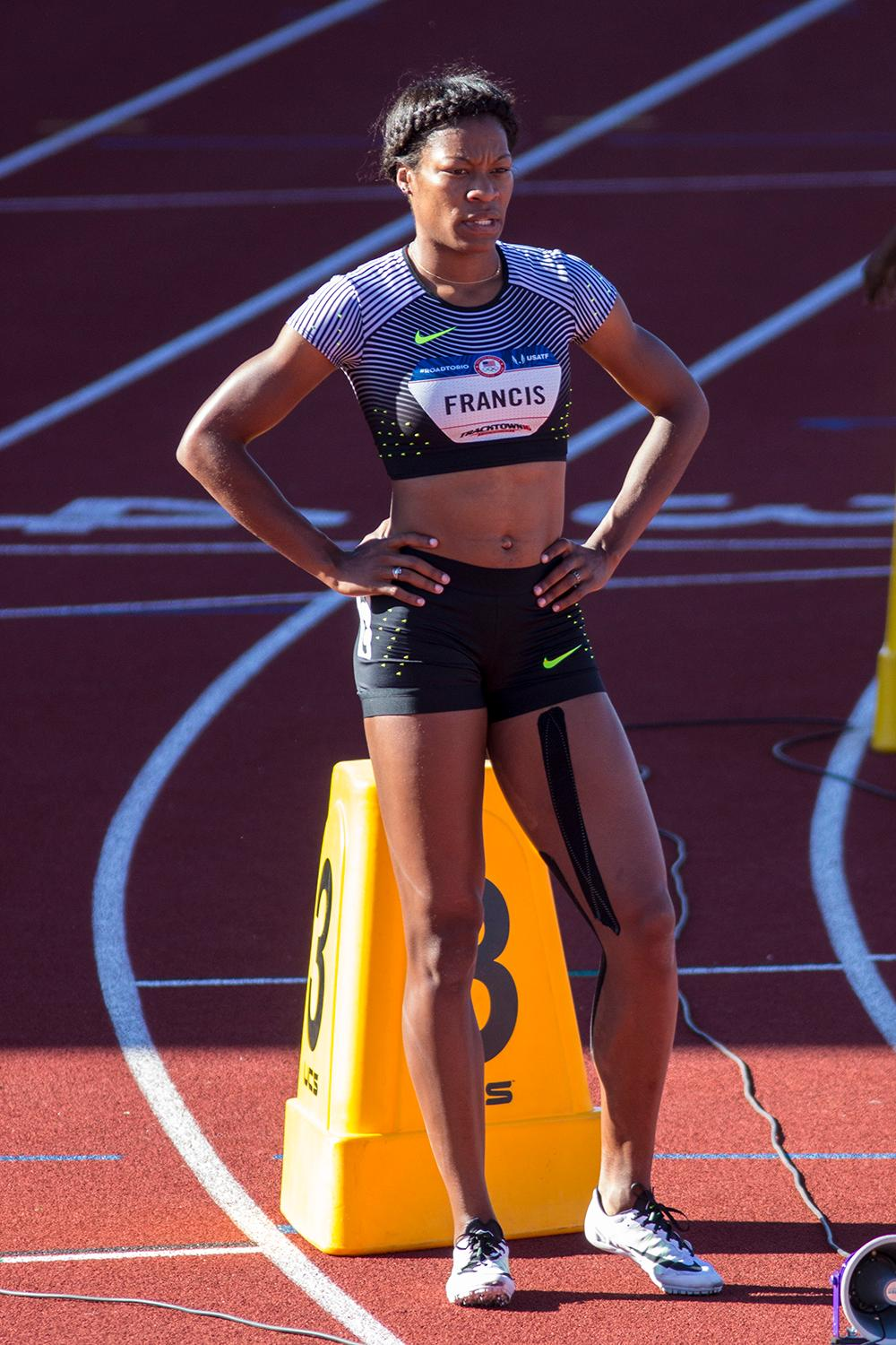 Nike's Phyllis Francis prepares to run in heat 2 of the Women's 400m dash. Francis finished in 2nd and qualified for the Olympics with a time of 50.81. Day one of the U.S. Olympic Trials began on Friday at Hayward Field in Eugene, Ore. And will continue through July 10. (Photo by Amanda Butt)
