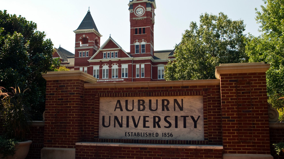 A general view of an Auburn University sign with Samford Hall in the background on campus of Auburn University (Photo by John Korduner Replay Photos via Getty Images)