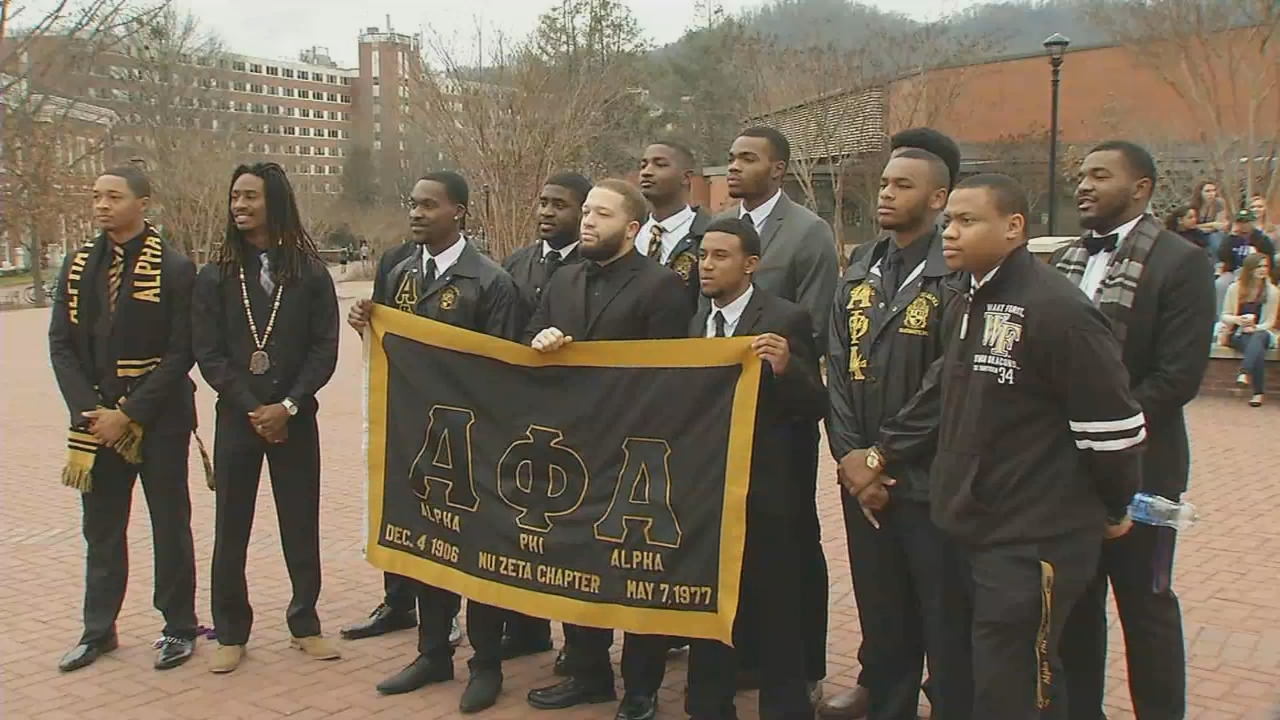 On Monday afternoon, members of the Alpha Phi Alpha fraternity held a unity march, starting from the university's central fountain, in honor of Martin Luther King Jr. Day. (Photo credit: WLOS staff)
