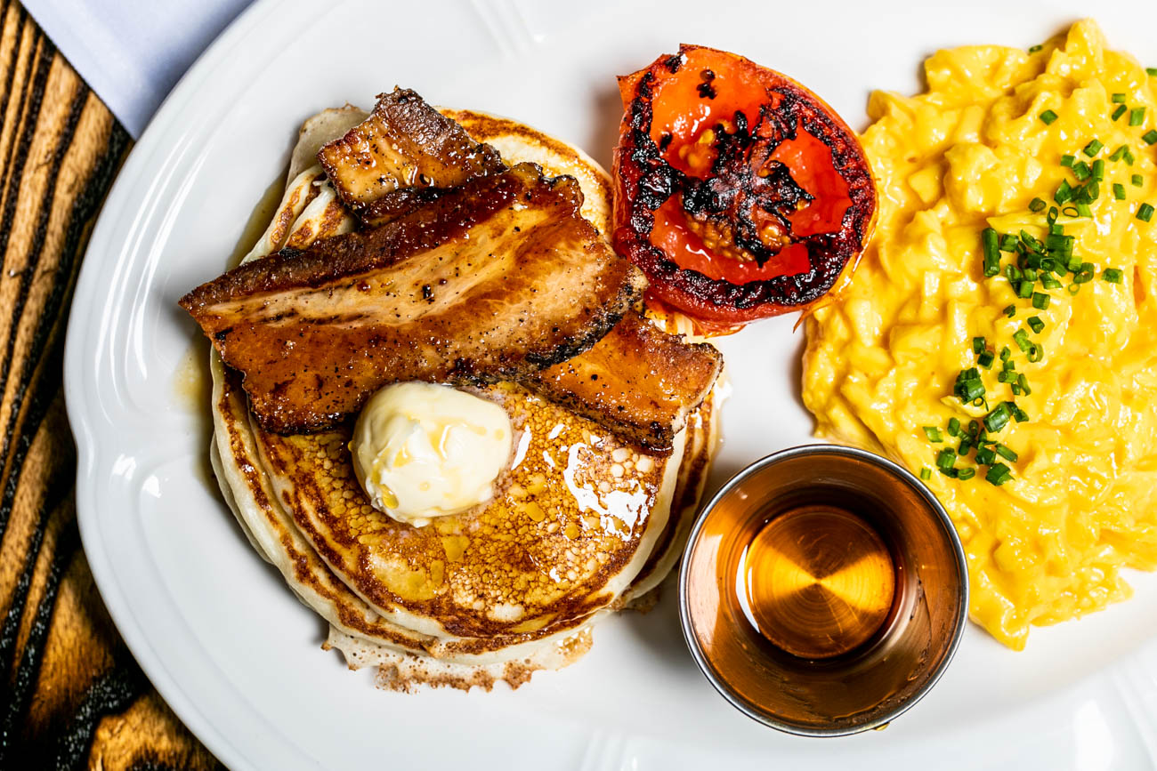 Diner Breakfast: soft scrambled eggs, maple-glazed pork belly, grilled tomato, and ricotta pancakes / Image: Amy Elisabeth Spasoff // Published: 5.31.18