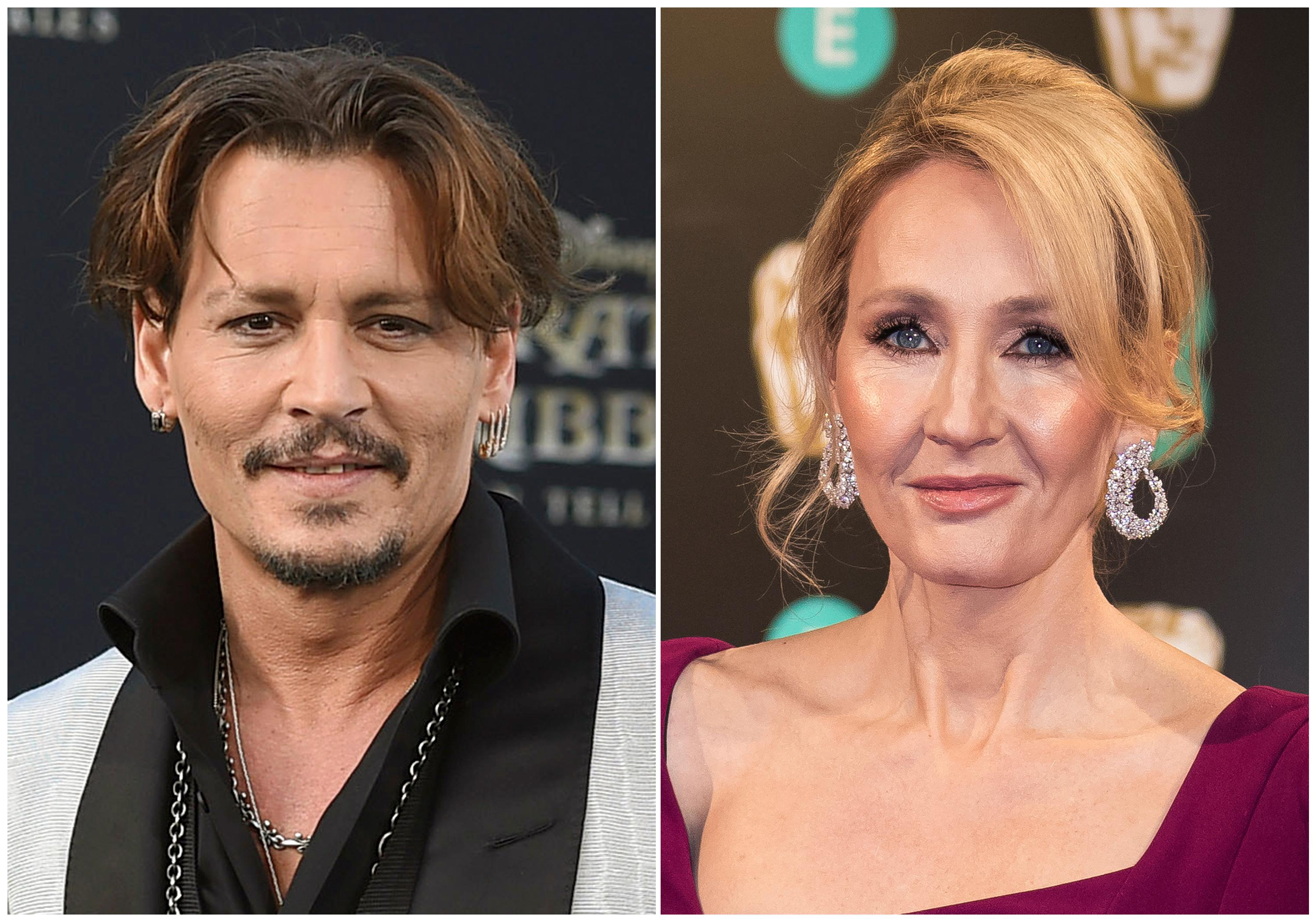 "In this combination photo, Johnny Depp appears at the Los Angeles premiere of ""Pirates of the Caribbean: Dead Men Tell No Tales"" on May 18, 2017, left, and  J.K. Rowling appears at the BAFTA Film Awards in London on Feb. 12, 2017. (Photos by Jordan Strauss, left, and Vianney Le Caer/Invision/AP, File)"